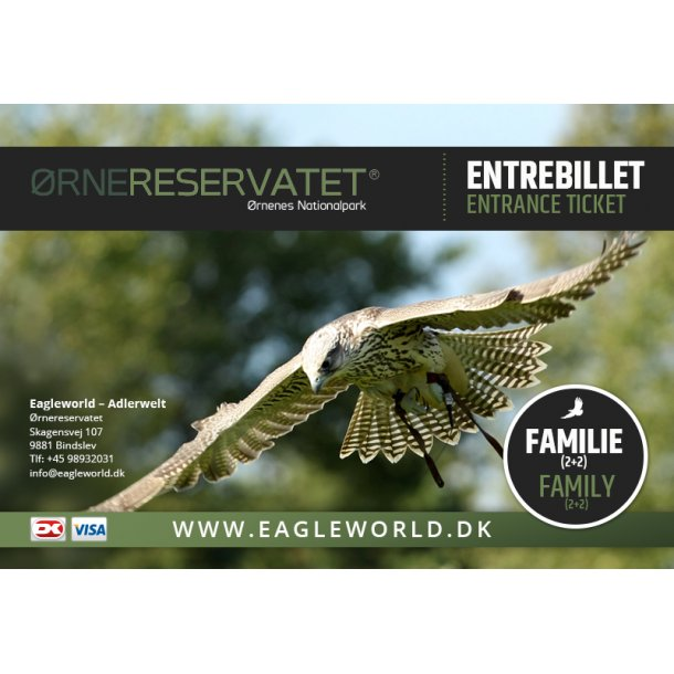 Familiebillet til Ørnereservatet (Family Ticket: 2 child+2 adult.)